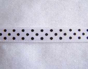 Ribbon grosgrain, white with black dots, 10 mm wide