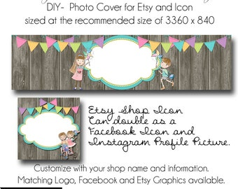 Etsy Cover Photo - Add your own Text, Instant Download, Summer Day, New Cover Photo For Etsy, Made to Match Graphics