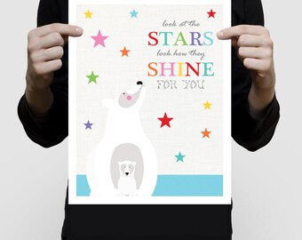polar bear nursery art print - stars shine saying - winter animal illustration arctic childrens room decor kids baby girl, baby boy wall art