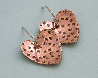 Paw Prints on My Heart - Copper Hand Stamped Earrings - Dog Lover Gift