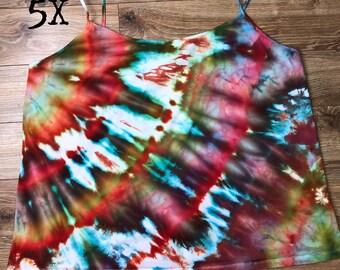 5X 30w - 32w Womens Plus Size Camisole Cami Tank top hand dyed ice dye tie hippie ooak
