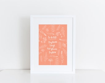 """To Do List Floral Print, 5"""" x 7"""""""