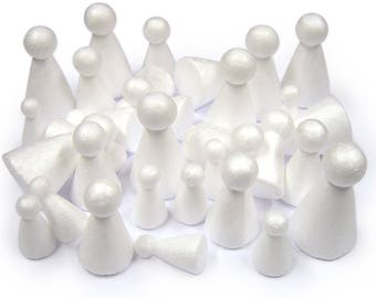 White Polystyrene 3D People Shapes Individual Modelling Dolls Pack of 30 Assorted Sizes