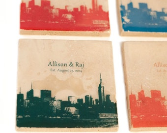 Personalized City Skyline Coaster Wedding Gift / Favors (4 Coasters with Custom Text & Colors) Cityscape Decor