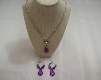 Purple and Silver Color Necklace and Earring Set 24 1/4 Inch Chain Hoop Dangle Earrings Nichol Free