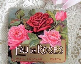 Antique perfume label Eau de roses, 1900s