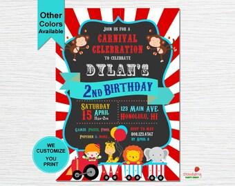 Carnival Themed Birthday Invitation, Circus Birthday Invitation, Carnival Birthday Invitation, Digital Printable