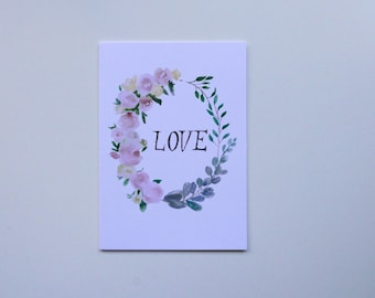 LOVE Floral Wreath Greeting Card. Notecard, Valentine's Day, Romantic