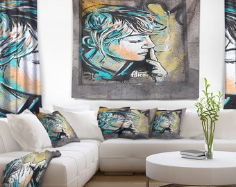 Designart Street Art by C215 Street Art Wall Tapestry, Wall Art Fit for Wall Hanging, Dorm, Home Decor