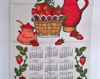 1971 Linen Calendar Towel - Bright Red Strawberries - Wall Hanging