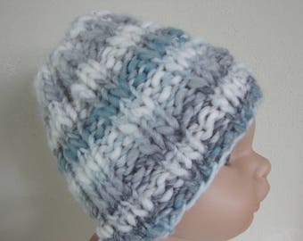 Chunky hand knit hat gray blue white  chunky kids hat size 1 - 1.5 yrs warm winter chunky multi color baby hat toddler boy girl knit hat