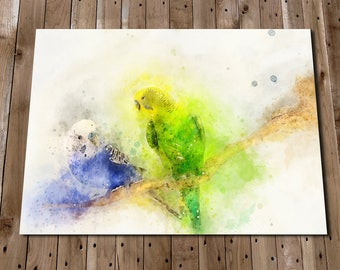 BUDGIE Art Print Poster - Bird Watercolour Wall Decor - Budgies Painting - Animals - Pet Bird Art - Gift Idea - Parakeet