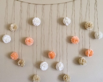 Pom Pom Garland, Peach and Creams Tissue Paper Flowers Wedding Garland DIY Kit, Party Decoration Kit, Baby Bunting Banner, Bridal shower