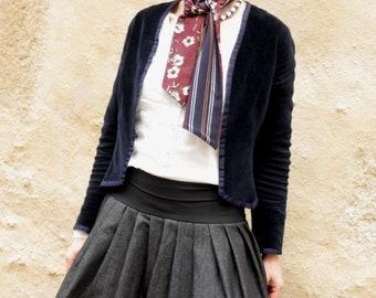 Woman Jean Bleu and bottom stripe sailor ball skirt.  Woman denim skirt original creation.