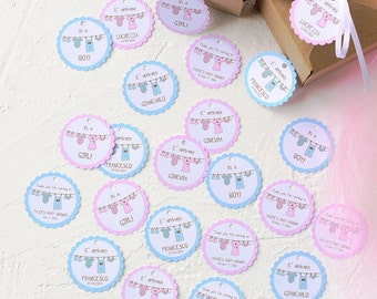 24 or 30 or 40 or 45 Personalized Handmade White and Pink or Blue Paper Tag with Text- Stickers-Baby Shower-Favor-Bag-Baby- Gift Enclosures