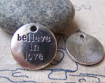 Charms with Sayings Antique Silver Round Pendants  20mm  Set of 10 pcs A1330