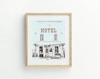 "Farmhouse Decor, Wall Decor, Instant Download, Black and White, Vintage Sign, Hotel, Landscape Print, Digital Download, Modern Art ""Jackson"""