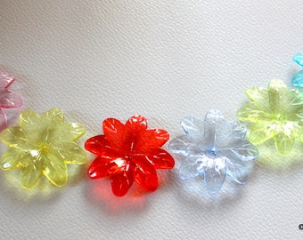 10 x Multicolored Flower Transparent Acrylic Beads 3.8cm x 3.5cm