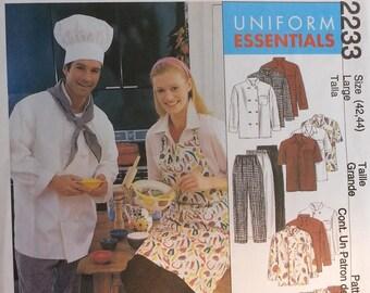 Cullinary Cook Restaurant Uniform Pattern Mccalls 2233 Mens Misses Jacket Shirt apron PullOn Pants Pattern Chef Neckerchief and Hat Pattern