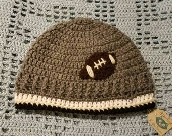 READY TO SHIP ~ Crochet Boys Football Beanie-- Grey with Black and White