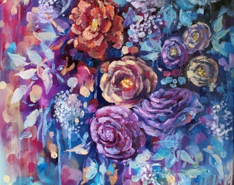 "Floral painting on canvas- purple-abstract art- flower art- wall art-canvas-oil painting-floral painting original-16""x20""-floral-canvas"