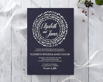 Exquisite & Elegant Dotted Wedding Invitation, Navy - IWF16060-GB-GS