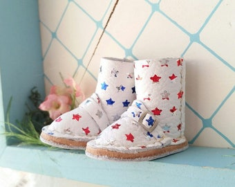 Mini White Star Spangled Leather Boots Fit Neo Blythe Doll Pullip And Azone Pure Neemo Size M S Body