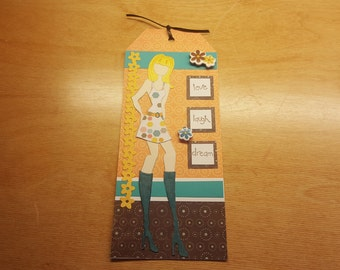 Handmade Prima Doll Tag - Love, Laugh, Dream - Card or Gift Tag-Gift Card Holder-Bookmark-Doll Tag-Prima Doll
