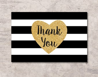 Black and Gold Thank You Card Printable, black white stripes gold glitter heart, instant download pdf jpg, baby shower bridal shower wedding