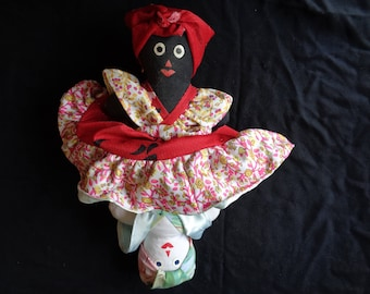 Vintage Hand Made Topsy Turvy Cloth Doll, Rug Doll, Two Sided Doll, Reversible Doll, Flip Two in One Toy Doll - 1980