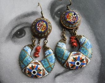 Earrings Chandelier Talavera de la Reina 1565  SPANISH Italian Monserrate Sintra Palace with Antique Coral and Micro Mosaic OOAK