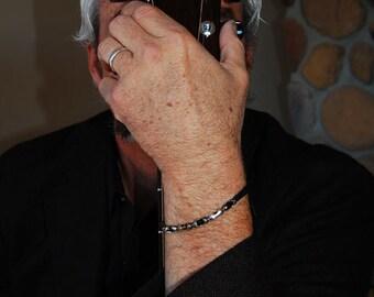 Safari-Men's Cuff, Mens Bangle, Leather Bracelet, Personalize, Women's Bangle, Women's Cuff, Tiger Eye, Black Spinel Bracelet