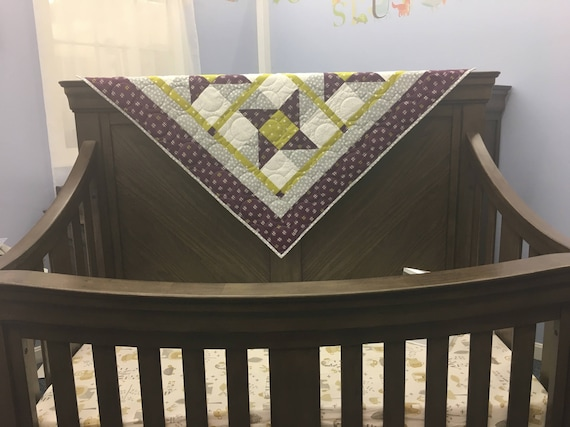 Handmade Baby Quilt - Gender Neutral - Purple Stars