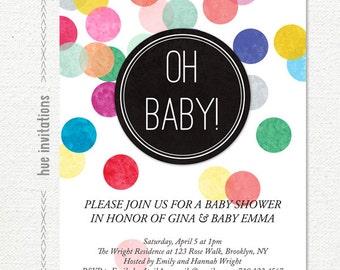 confetti baby shower invitation, modern gender neutral baby shower, oh baby invite, rainbow printable 5x7 jpg or pdf digital file 591