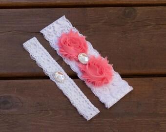 Peach Wedding Garter Set, Lace Wedding Garter Set, Bridal Garter Set, Flower Garter Set, Vintage Garter Set, Shabby Chic Garter