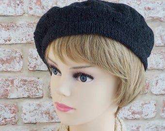Lacy beret British Shetland wool knitted women's charcoal grey hat