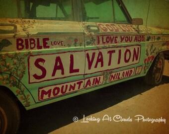 Salvation Sedan, outsider art photography, campy car photo, God loves you religious folk art, Salvation Mountain CA