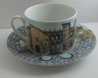 FORNASETTI © Rosenthal Germany. Porcelain espresso / mocha cup with saucer. Decor: High Fidelity. VINTAGE