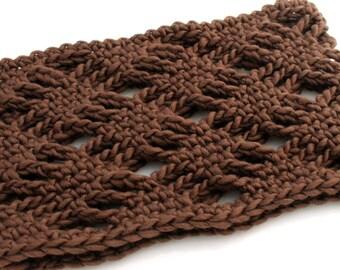 Crocheted Diamond Lace Neckwarmer. Brown. Cowl.