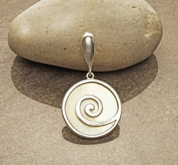 MOP Pendant - Sterling Silver - 925 - Shell Pendant - Mother of Pearl - Spiral Pendant - Boho Pendant - Boho Jewelry - Spiral - MOPJewelry.