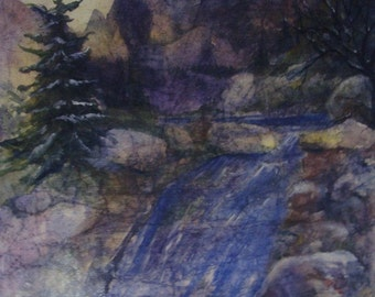 Mountain, Rocky, Waterfall,Trees, Evergreens, Colorado, Flowing Water, Snowcapped Mountains,Watercolor Fine Art Print  by Janet Dosenberry
