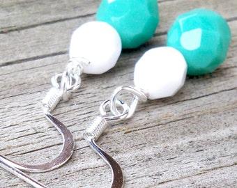 White Turquoise Earrings White Aqua Earrings Aqua Dangle Earrings Aqua Bead Earrings Aqua Beaded Earrings Bridal Earrings Bride Earrings