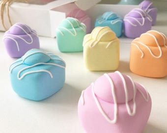 8x30g Pastel Fondant Fancy Pattern Weights | Great Sewing Gift for Birthdays | Handmade with Polymer Clay by Oh Sew Quaint |