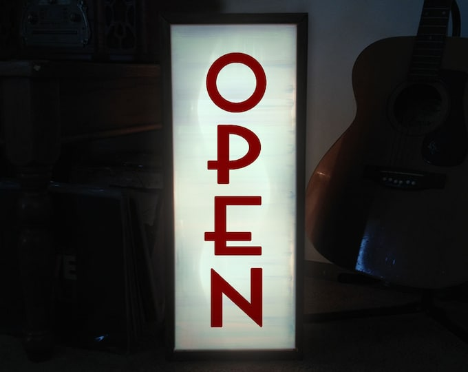 Art Deco Vertical Custom LED Light Box Open Sign