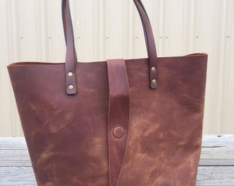 "12"" x 12"" Rustic Leather Tote, Leather Handbag, 100% Real Leather"