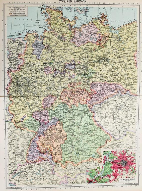 Vintage Map West Germany Berlin Published Lovely - Vintage map berlin