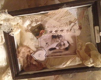 Mixed Media ART~ Together Forever~ Always Love~ VINTAGE Wedding