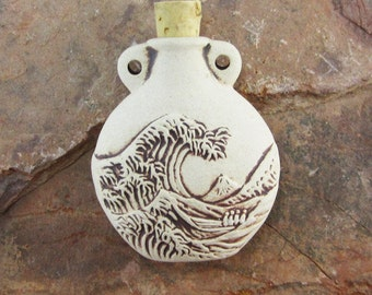 Peruvian Ceramic High Fire Ocean Wave Bottle
