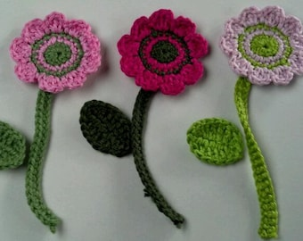 Set of 3 Crochet Flower 1.5 inches Appliques with crochet leaves and crochet stems Craft Trim 9pcs for scrapbooking