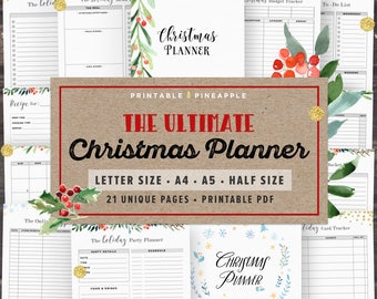 Christmas Planner Printable, 2017 Holiday Planner Kit, Gift Planner, Party Organizer, Thanksgiving, A5, Half Letter Size, Xmas, Digital